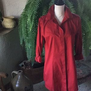 EUC Chico's Holiday Red Long Sleeve Top